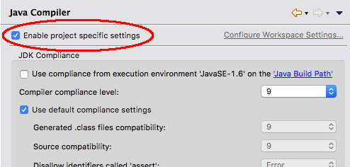 Enable project specific settings